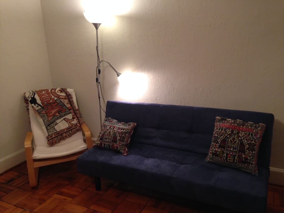 Reading chair and sofa, which pulls out and turns into a bed.