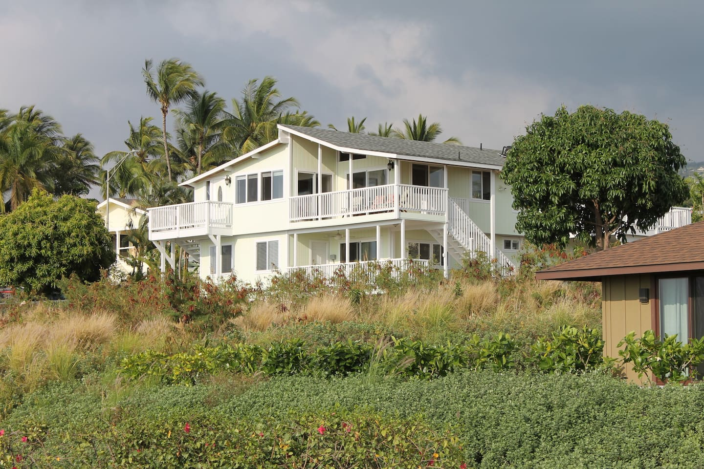 Curbside view of the villa