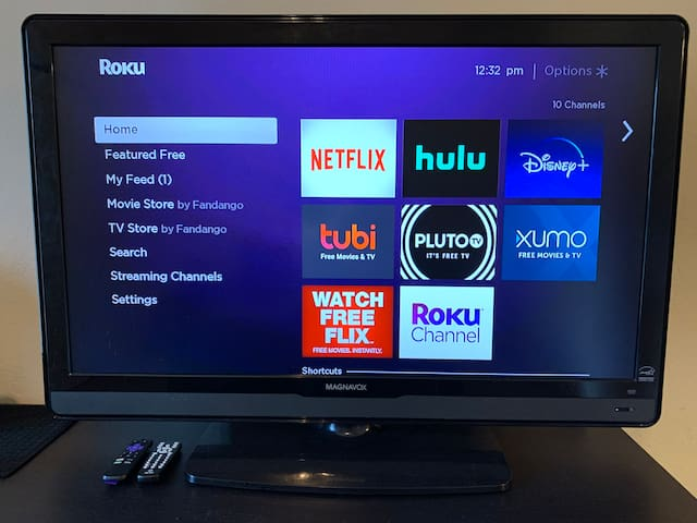 The TV comes with a Roku device that allows you to choose from multiple streaming apps. Relax with a movie or your favorite show at night, and wake up with the news while sipping a delicious cup of hot coffee or tea!