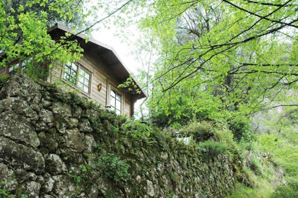 The chalet is above the footpath amongst the trees. Ideal for hikers