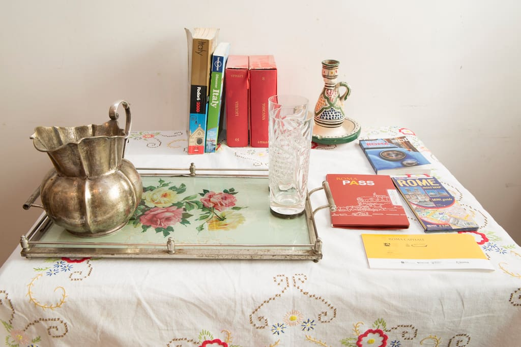 The little table in the guest room