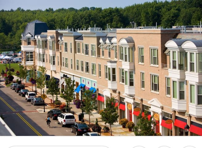 Crocker Park, mixed styles of food and valet parking available.