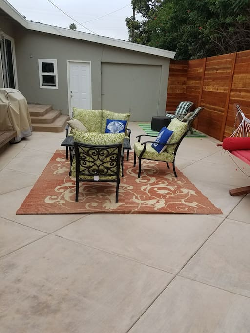 large patio with bbq off of kitchen.