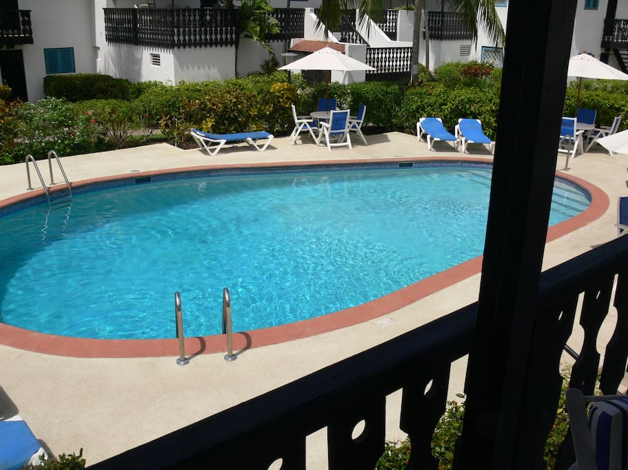 Overlooking pool from big back patio