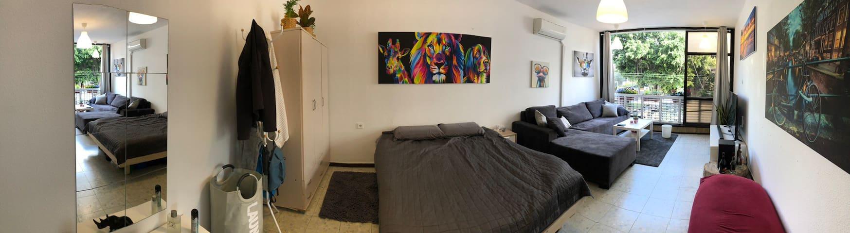 חדר עצום עם סלון פרטי וכל מה שצריך בלב תל אביב