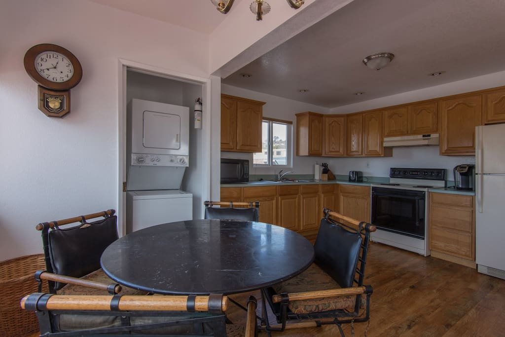 Kitchen table, stove/oven, full refrigerator, W&D, microwave....