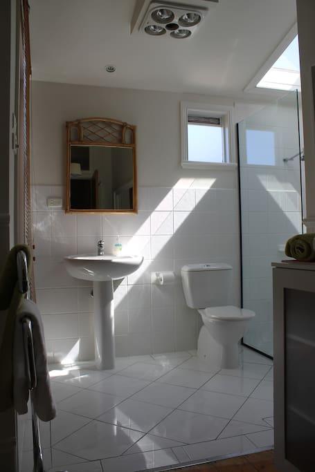 crisp and clean bathroom