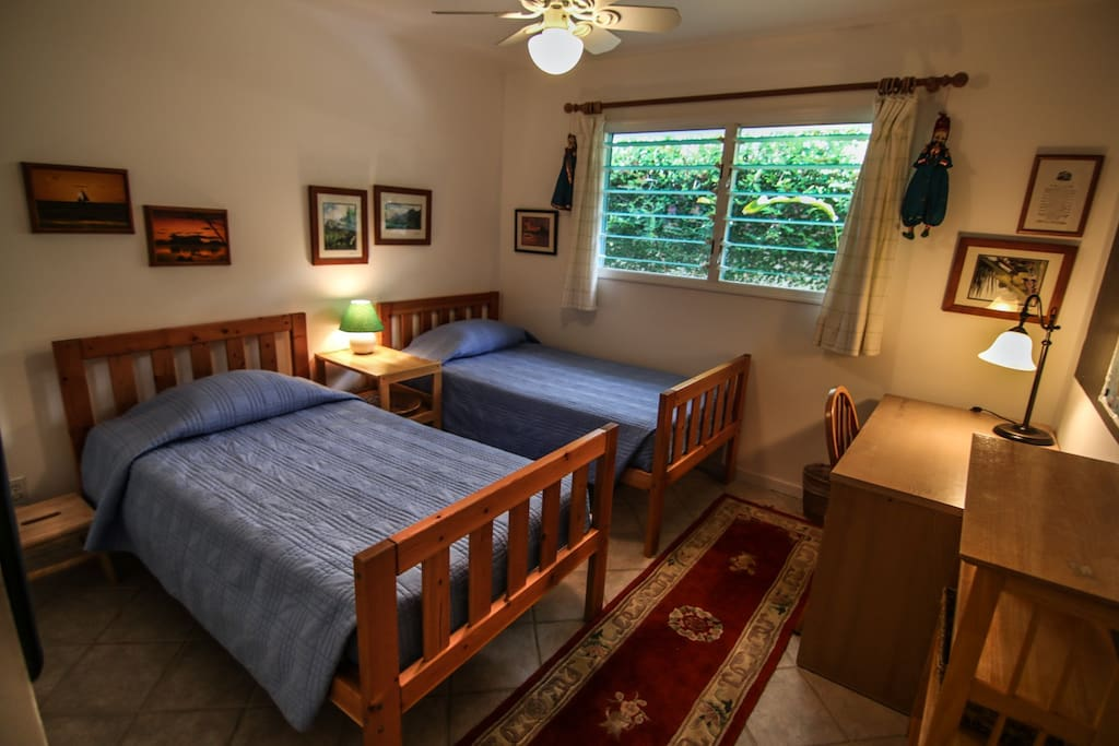 Two twin beds in the second bedroom