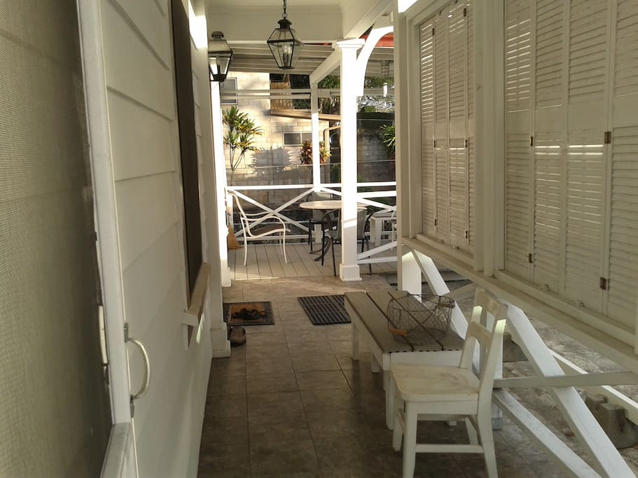 Front entry leading to deck.