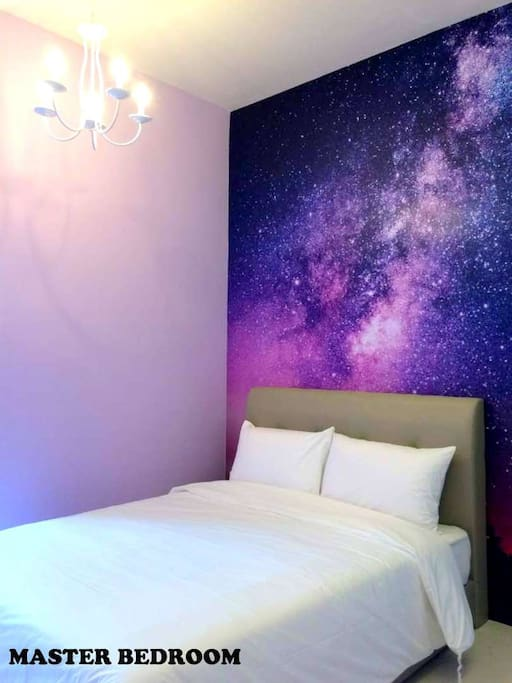 Bedroom 1- Galaxy wallpaper with Chandelier lighting