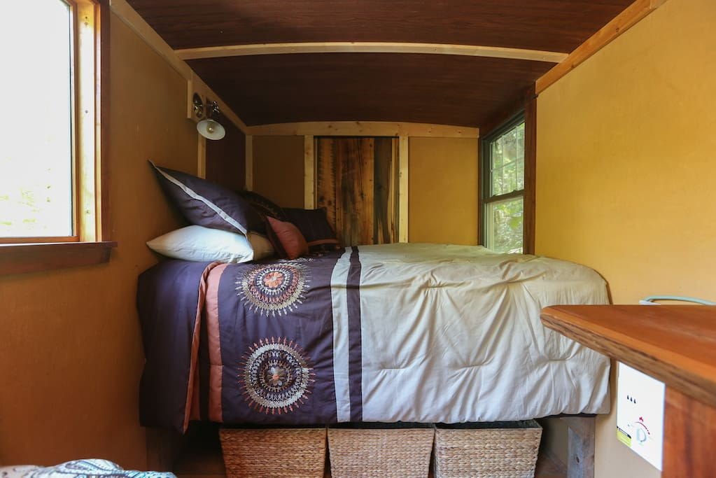 This full sized bed has a super cozy pillow top mattress.
