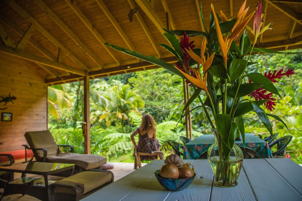 Open living space right on the Cacoa river with its own beach and pool.