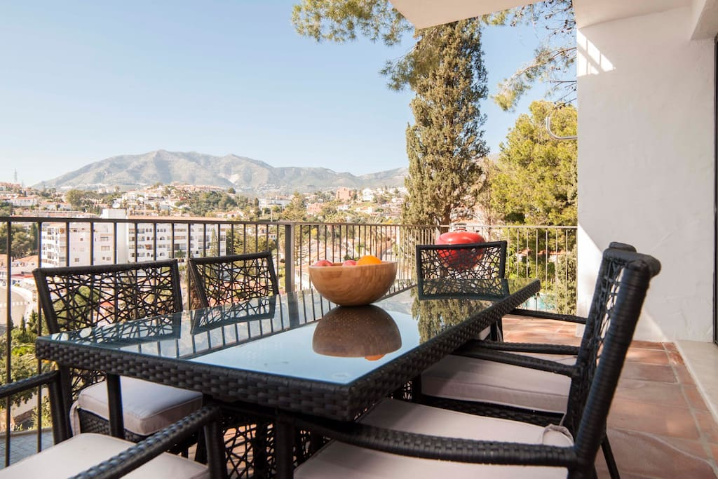 The nice terrace with views to the mountains