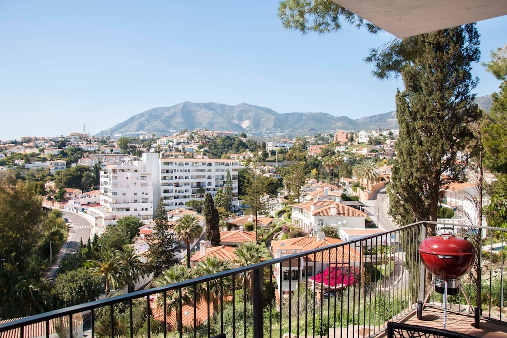 The amazing views from the terrace over the Mijas mountains! The sun