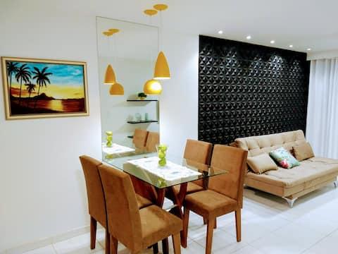 Confortável apartamento com piscina 300mt da praia