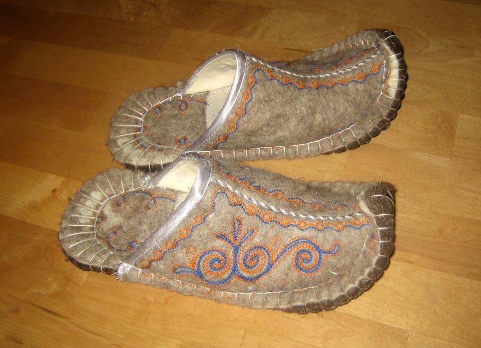 Um meinen Ahorn-Fussboden zu schonen: Bitte Hausschuhe tragen. Sie stehen in ausreichender Anzahl zur Verfügung.