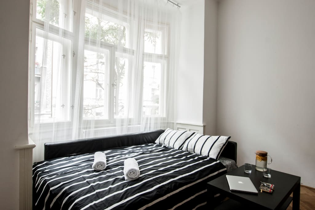 Comfortable double bed for guests in private room