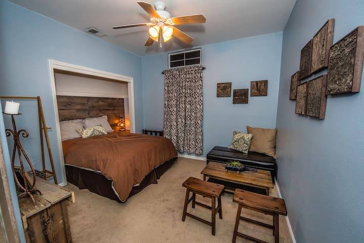 Blue Bedroom (Twin Sleeper Ottoman shown in corner sitting area)