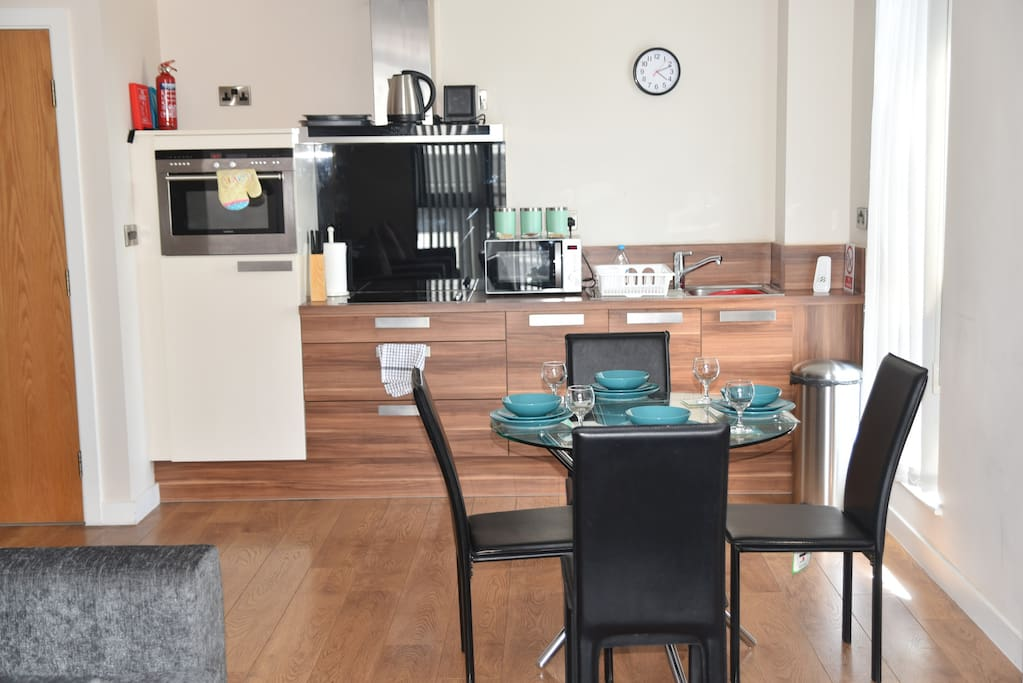 Kitchen with all cooking, crockery & utensils provided