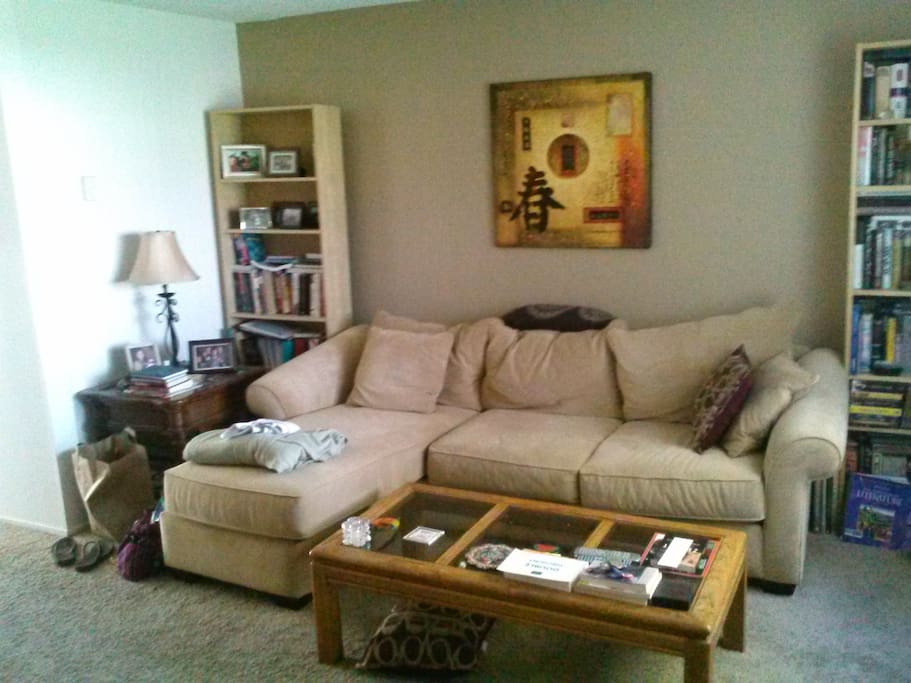 Main living room with comfy couch and coffee table