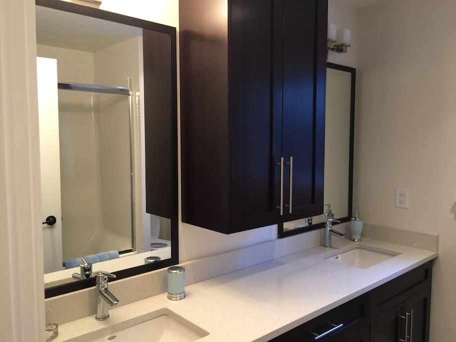 Double sinks , granite countertops