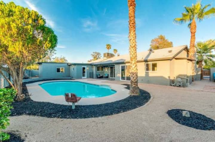 Mid-century morden house with a full-size pool