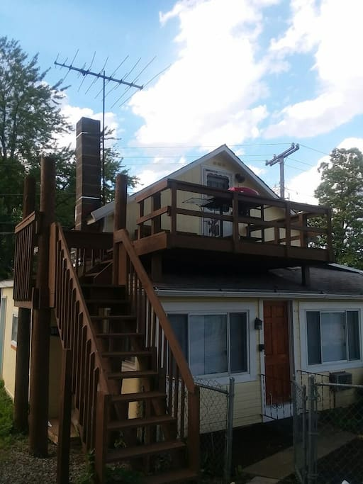View of the deck in the rear.  Unit is on the second floor.