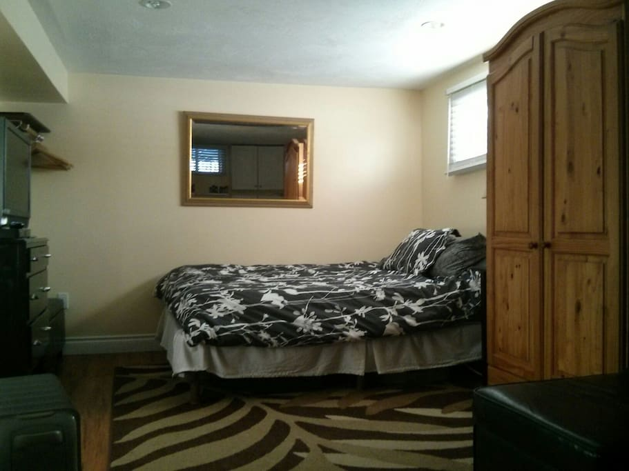Queen bed and a flat screen with satellite TV