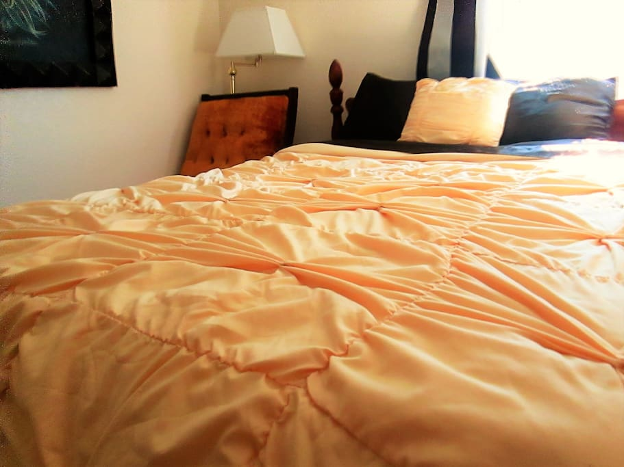 Gorgeous double bed with dark chocolate satin sheets