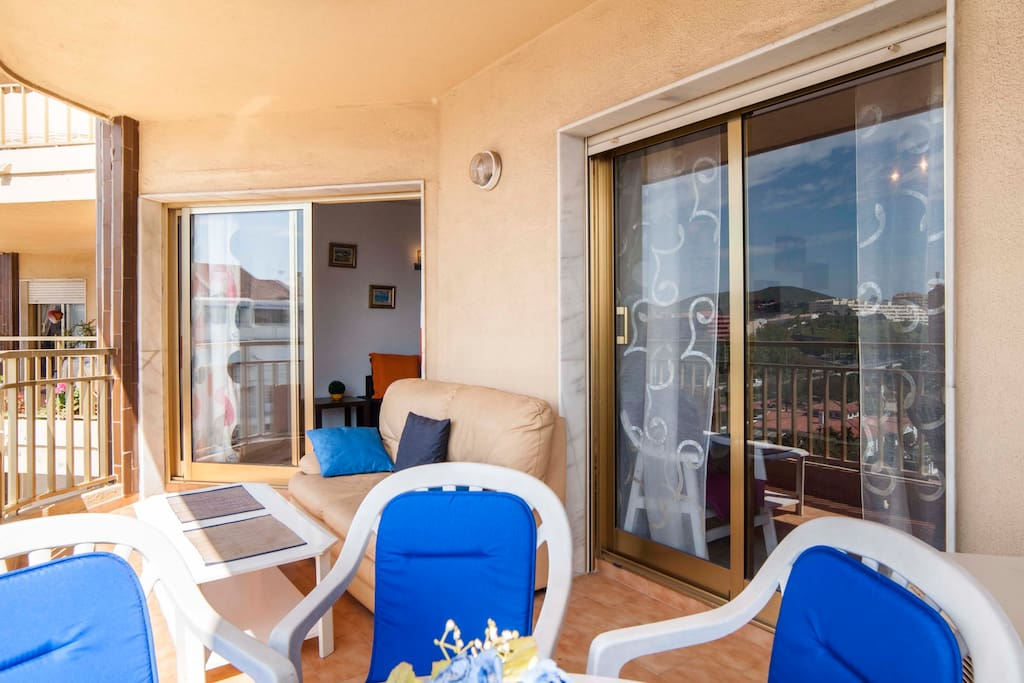 From the lounge and the  bedroom to a sunny west facing balcon
