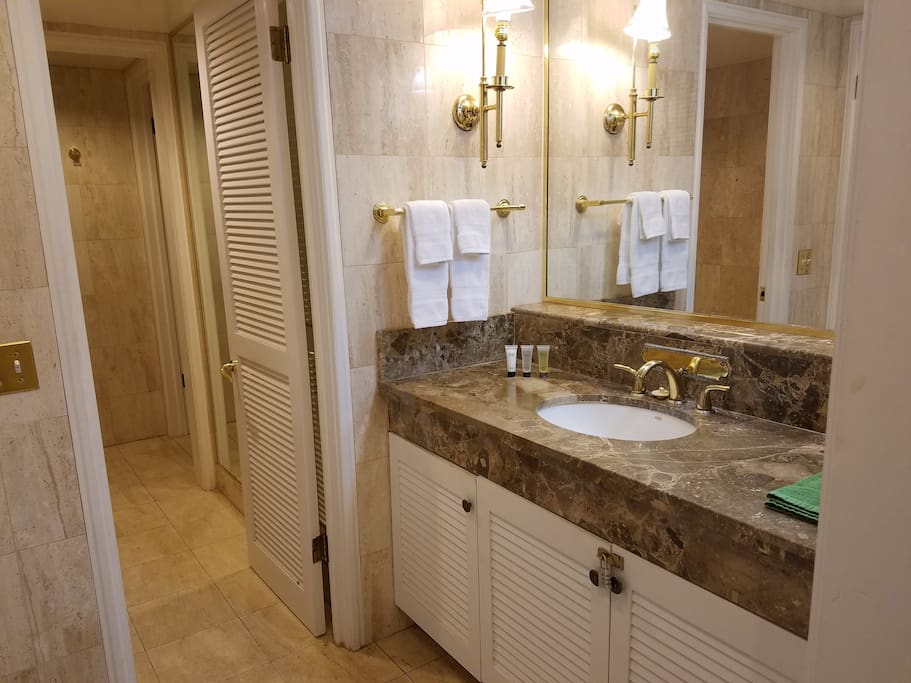 Marble Bathroom with separate Bathtub and Walk in Showers.