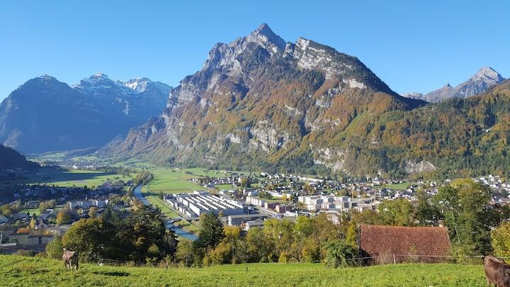Dachwohnung im Bergtal Glarnerland in Mollis