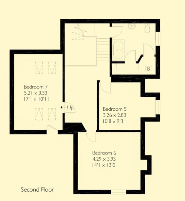 Floor plan of available space                                         One super king bedroom.                                              One twin bedroom.                                                          One single bedroom