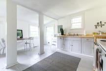 Bright, airy Scandinavian-style kitchen.