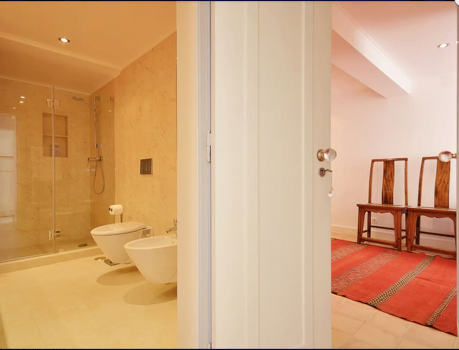 Bathroom and bedroom 1 - here you just get a glimpse but you'll see them further on