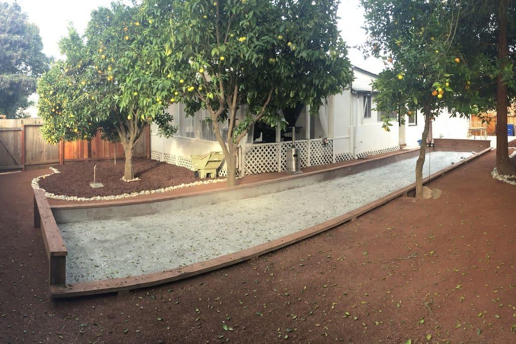 Large Backyard with Bocce Ball Court