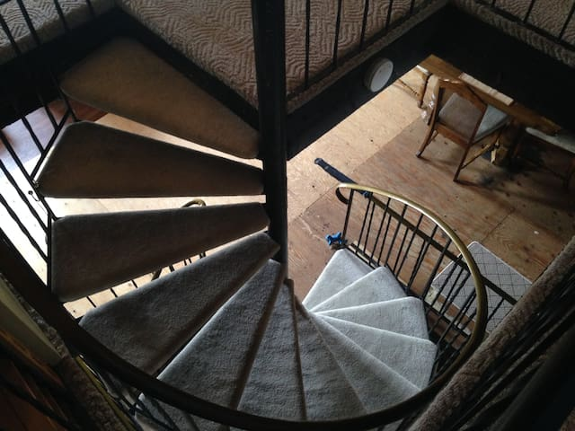 Spiral staircase. There are two.