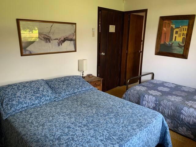 Habitación 4: una cama doble y una sencilla. Baño privado.