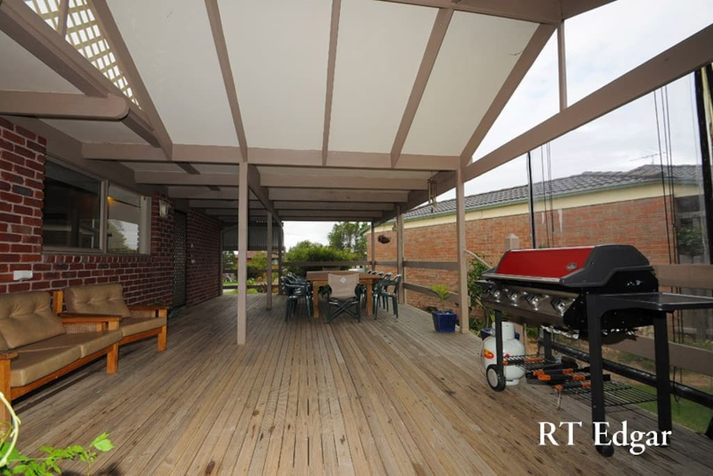 Big covered deck perfect with BBQ, great for entertaining
