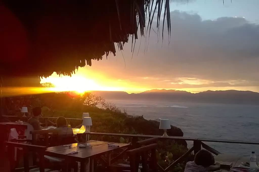 Romantic sunset at the restaurant