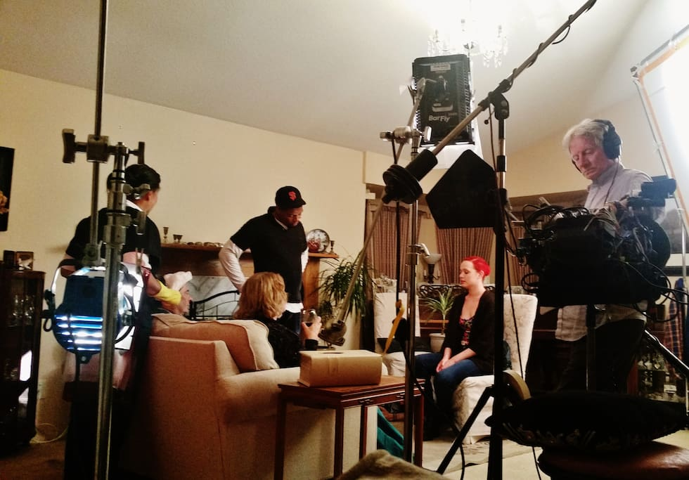 Our living room, a movie set for a feature film.