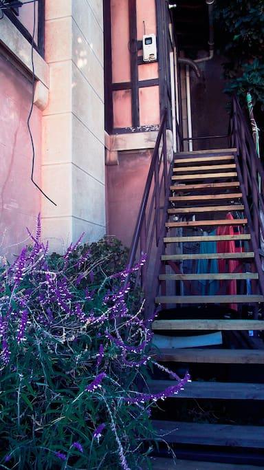 La escalera de entrada de la casa.
