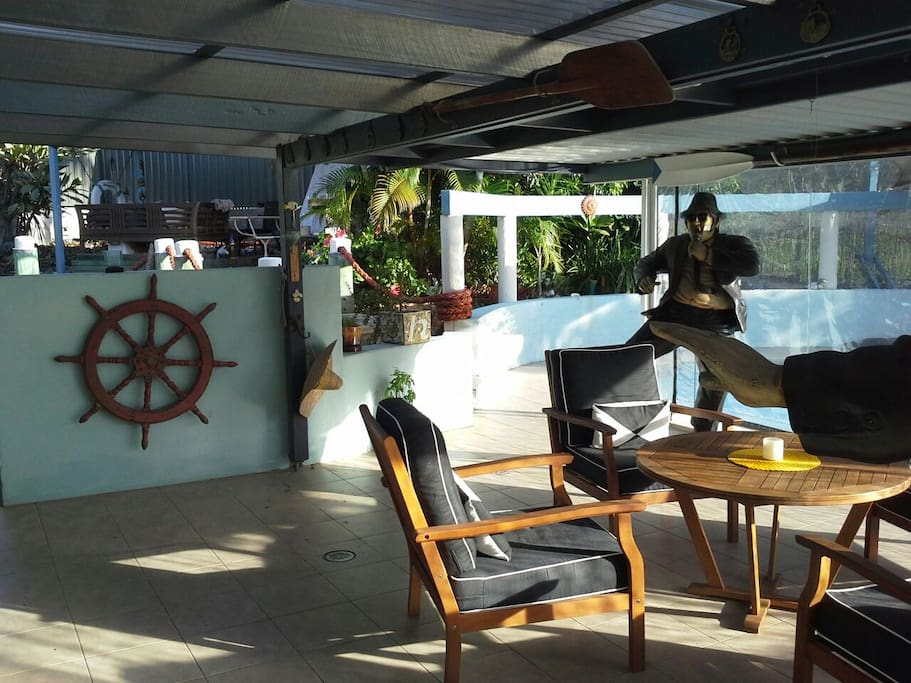 A lovely start to the day having breakfast or a quiet coffee by the pool. Sit back and relax on the back deck overlooking the pool .