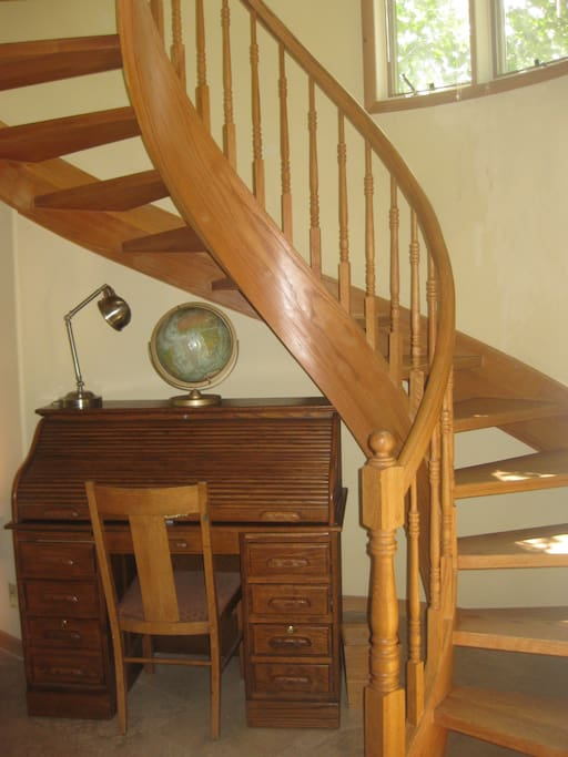 Spiral stairs to master and guest suites