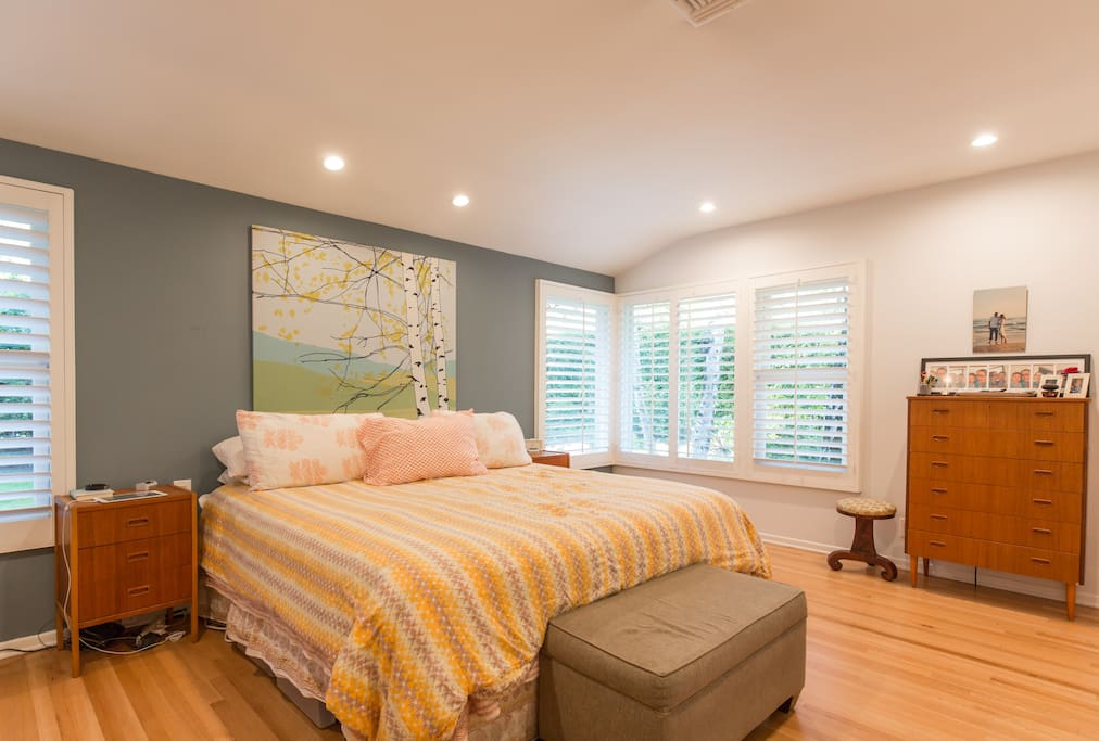 Master bedroom with walk-in closet and master bath