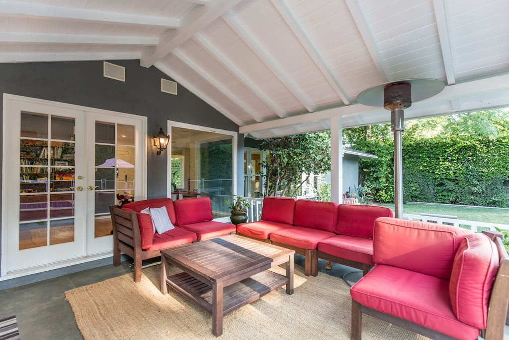 Beautiful outdoor patio right outside the kitchen