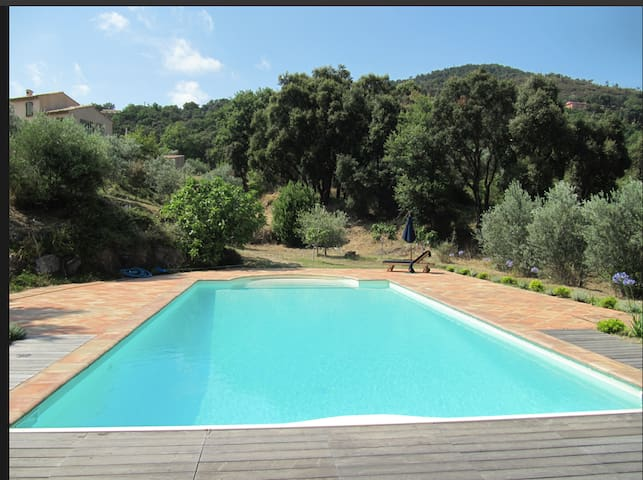 The 12m X 6m Pool surrounded by terrace, with views over the  hills,and covered pergola for lunch in the shade, and  child safety alarms. Regular pool maintenance provided.