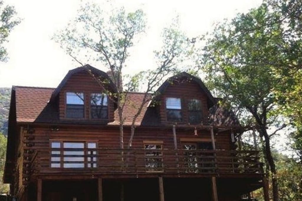 Back of the cabin ~ Bedrooms are upstairs