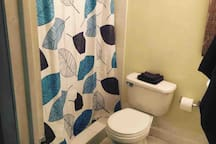 Private bathroom with full shower, sink, and toilet. Bath towels, soap, and shampoo provided.