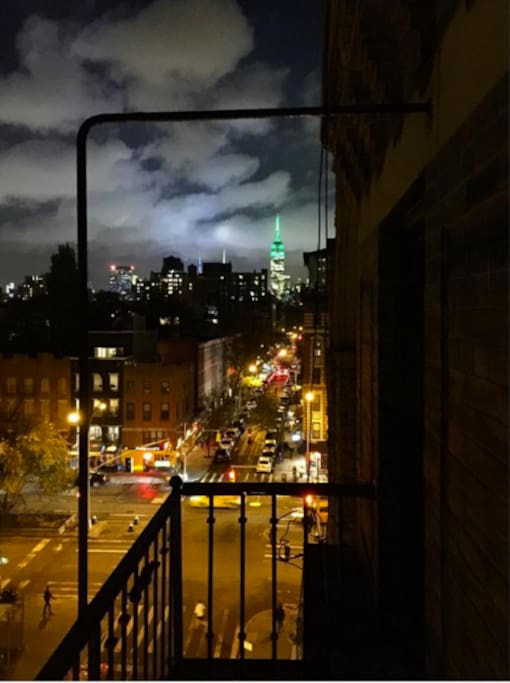 Cloudy night view from the fire escape! (Empire State Building in the background)
